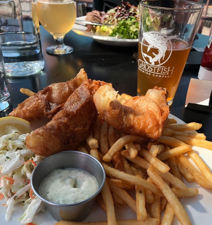 Picture of gluten-free fried fish and chips on a plate from Ghostfish